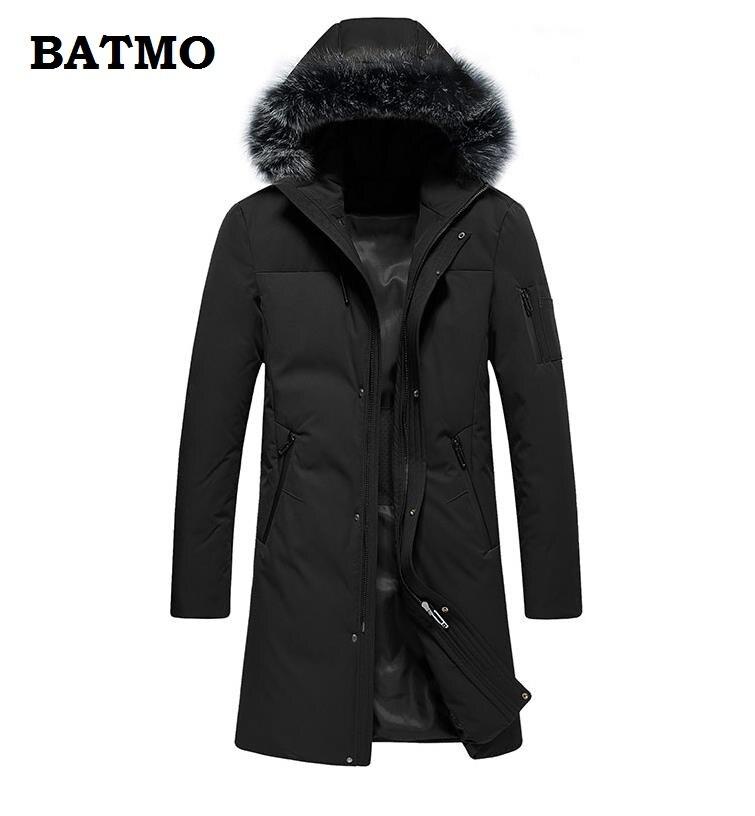 Batmo 2018 Neue Ankunft Winter Hohe Qualität Thiked Warme 90% Weiße Ente Unten Mit Kapuze Lange Jacken Männer, Herren Winter Mantel 9602