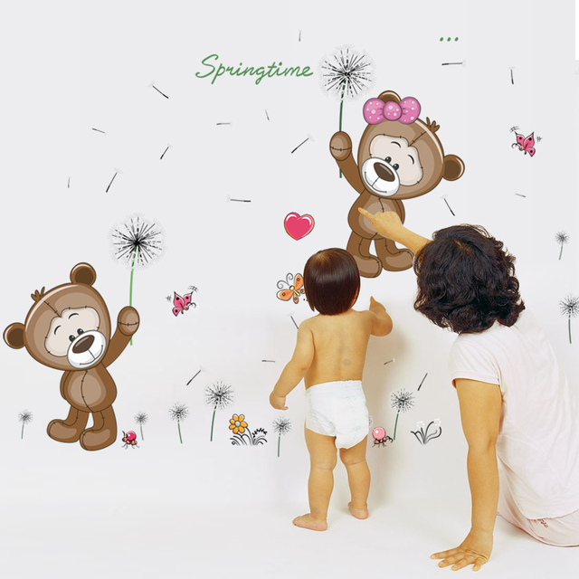 Brown Bears Wall Sticker for Kids Room Home Decor Nursery Wall Decal Children Baby House Mural