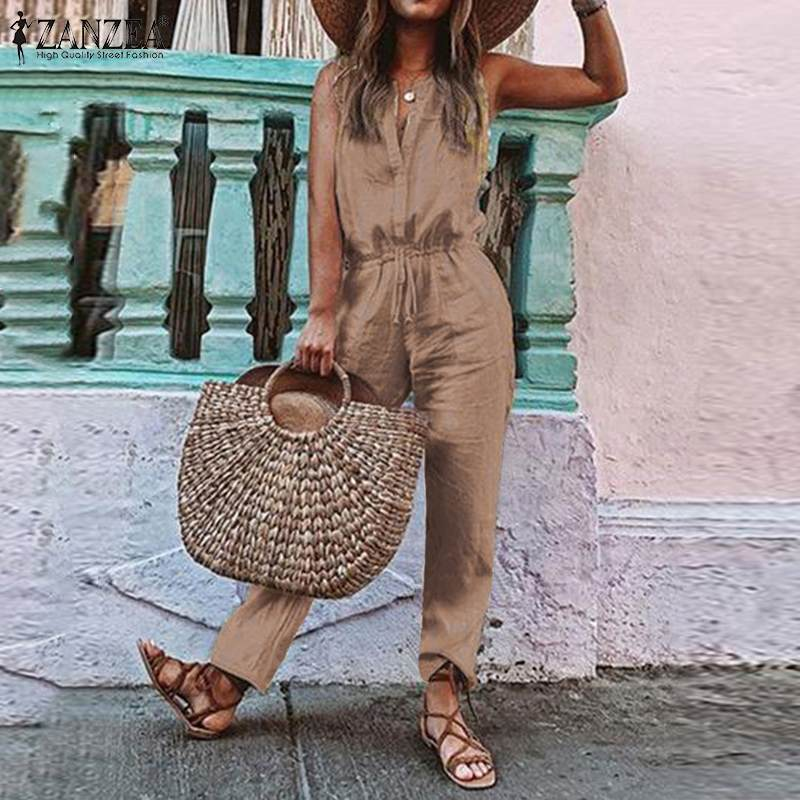 Women's Jumpsuits ZANZEA Plus Size Summer Overalls Casual V Neck Sleeveless Playsuits Drawstring Rompers Combinaison Femme 5XL