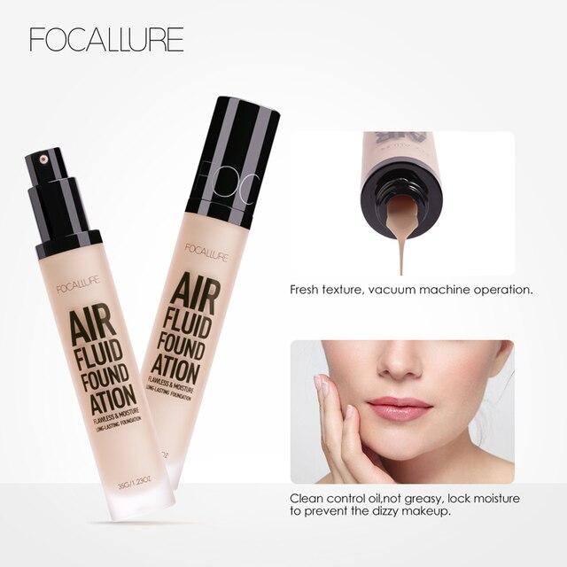 FOCALLURE New AIR FLUID FOUNDATION Moisturizing Natural Foundation Base Long Lasting Waterproof Women Makeup 4