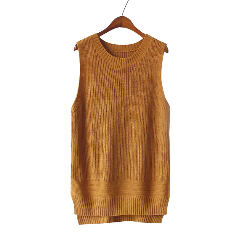 Women Khaki O neck Knitted Sweater Vest 2017 Autumn Winter Fashion ...
