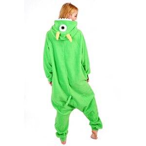 Image 3 - Vrouwen Hooded Pyjama Vrouwelijke Fleece Nachtkleding Meisjes Leuke Monoculaire Monster Cartoon Pyjama Winter Kigurumi Animal Pyjama Set