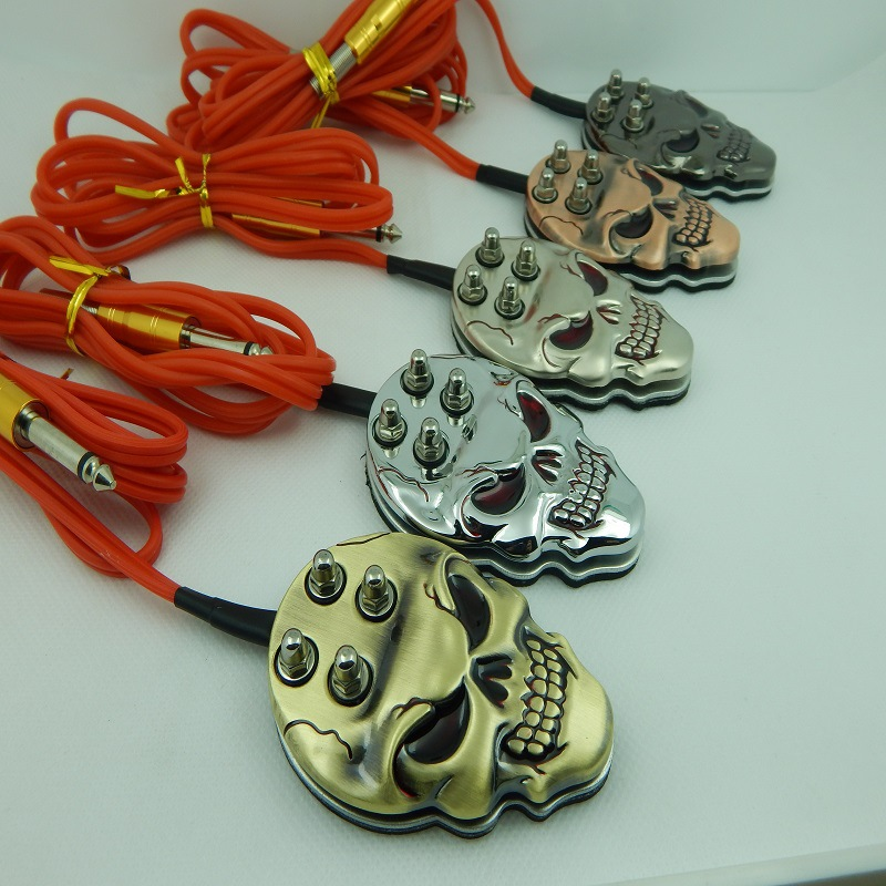 New Skull Tattoo Machine Footswitch Foot Switch Pedal Controller For Power Machine Gun Tattoo Control Tattoo Power Supply Silica