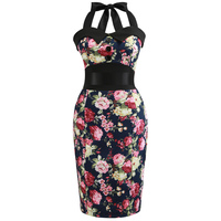 HeyGalSing 2017 Women Off Shoulder Slim Bodycon Dress 50s Floral Swing Summer Office Dress Sexy Sheath Fitted Pencil Dresses