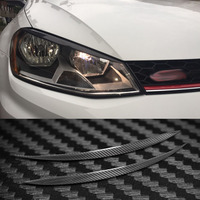 Carbon Fiber Headlight Cover Eyebrows Eyelid Trim Sticker For VW Golf 7 MK7
