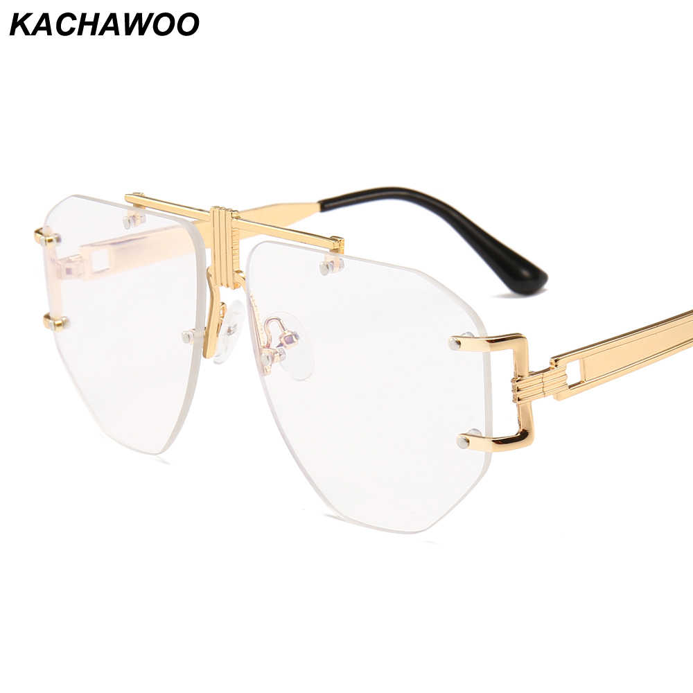 3e44009df08 Kachawoo Man Rimless Eyeglasses Frameless Oversized Gold Metal Retro Glasses  Frame Women Big Fashion Accessories