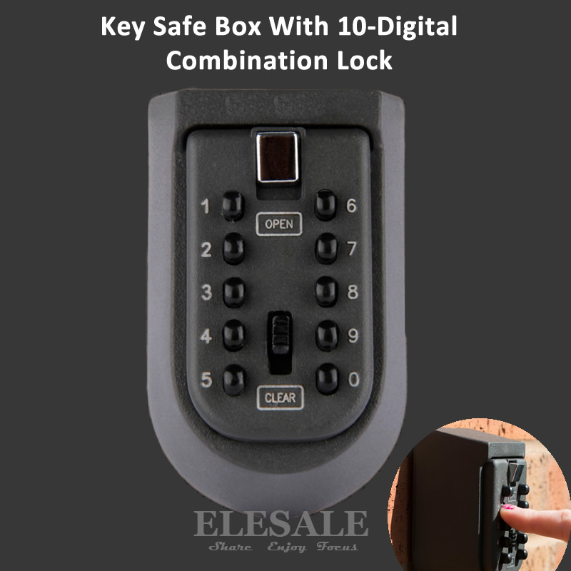 Wall Mounted Key Safe Storage Organizer Box With Combination Lock 10-Digital Password Weatherproof Cover For Home Outdoor Use