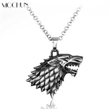 Fashion Cool 3D Wolf Head Stark Crest Pendant Necklace Alloy Jewelry Game Of Throne Necklace for Men Christmas Collar Souvenir(China)