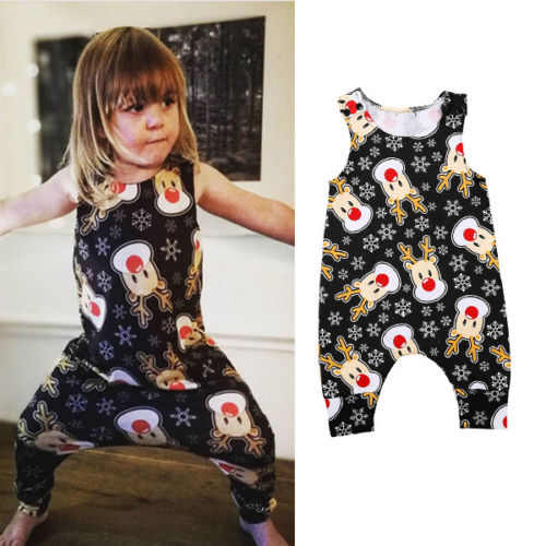 Christmas Newborn Toddler Baby Girl Boys Cotton Deer Animals Sleeveless Jumpsuit Romper Outfits Clothes