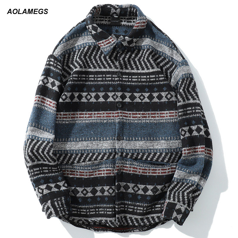 Aolamegs Long Sleeve Shirt Men Folk custom Hairy Shirt Striped Shirts Male Fashion Casual Breasted Harajuku Spring Streetwear-in Casual Shirts from Men's Clothing on AliExpress - 11.11_Double 11_Singles' Day 1