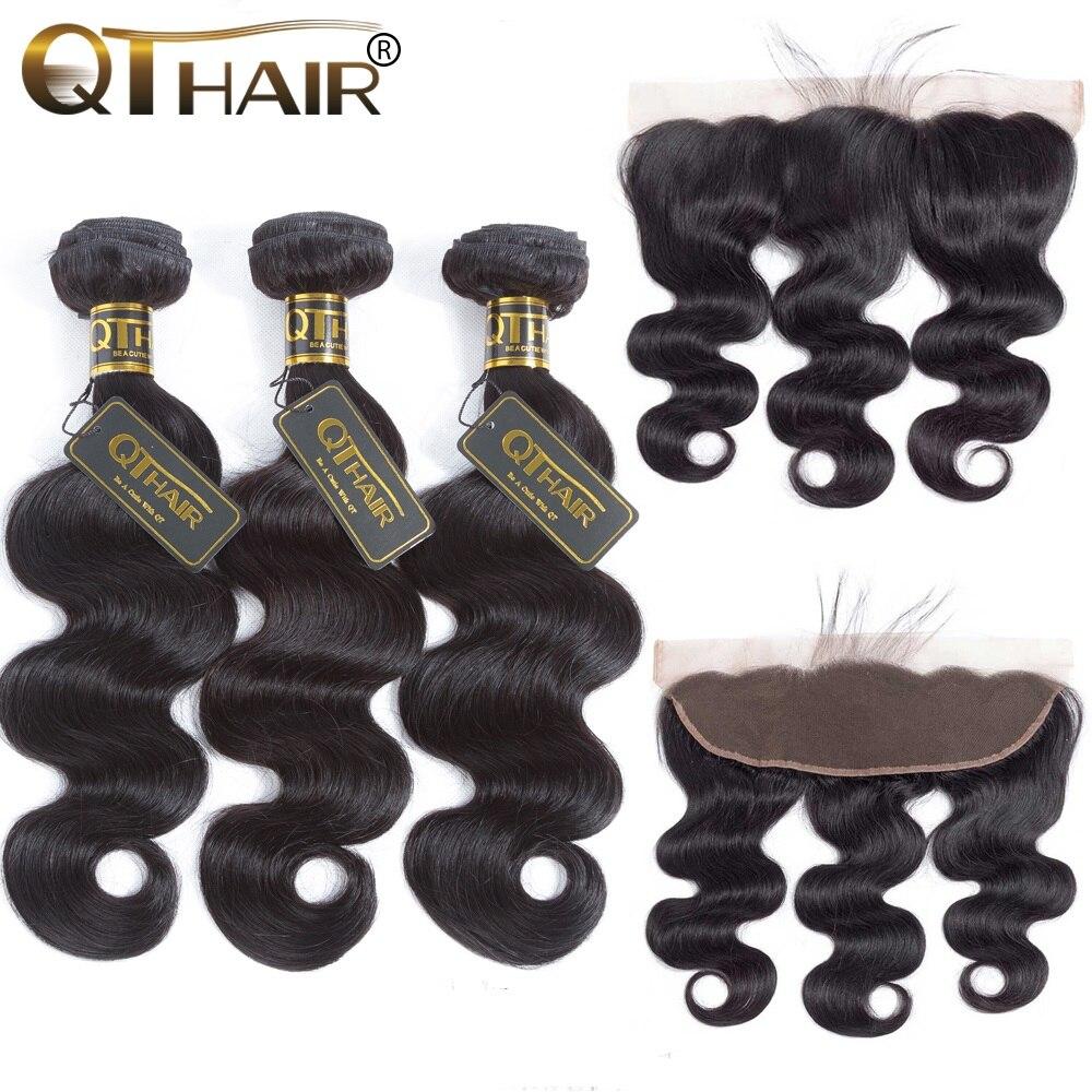 QT Hair Brazilian Body Wave 3 Bundles With Frontal Closure Brazilian Hair Weave Bundles With Frontal