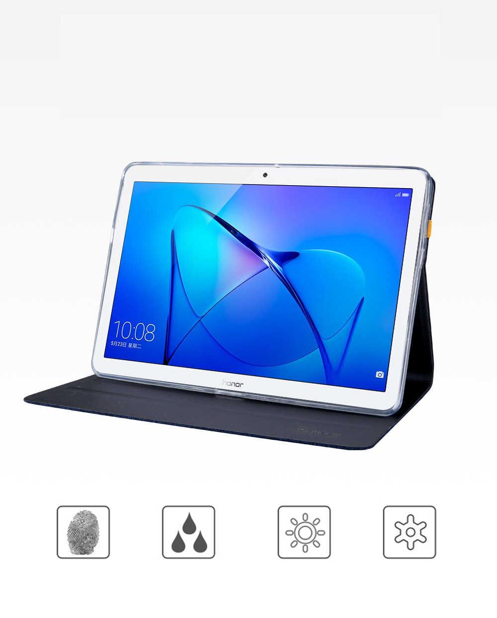 Силиконовый чехол + ткань из искусственной кожи чехол для huawei MediaPad T3 10 AGS-L09/W09/L03 9,6 ''планшет Smart Sleep чехол Чехол-подставка для планшета в виде ракушки