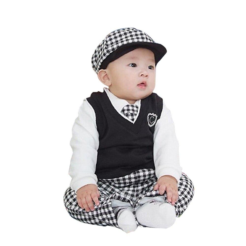 Hat Suit Clothes Set Pant SGBB Baby Boys Gentleman Waistcoat Shirt Necktie