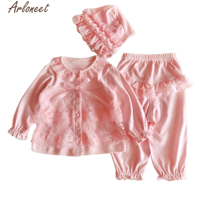 Christmas Pajamas Dress For Baby Girls Newborn Infant Baby Girls Clothing Lace Cardigan+Long Pant+Cap Hat Set Outfit Pink &