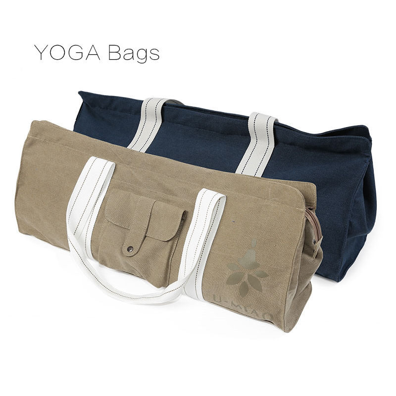 Canvas Yoga Bag Waterproof Yoga Mat Bag Large Fitness Bag Big Yoga Backpack Pilates Mat Case Single Shoulder Gym Mat Carrier