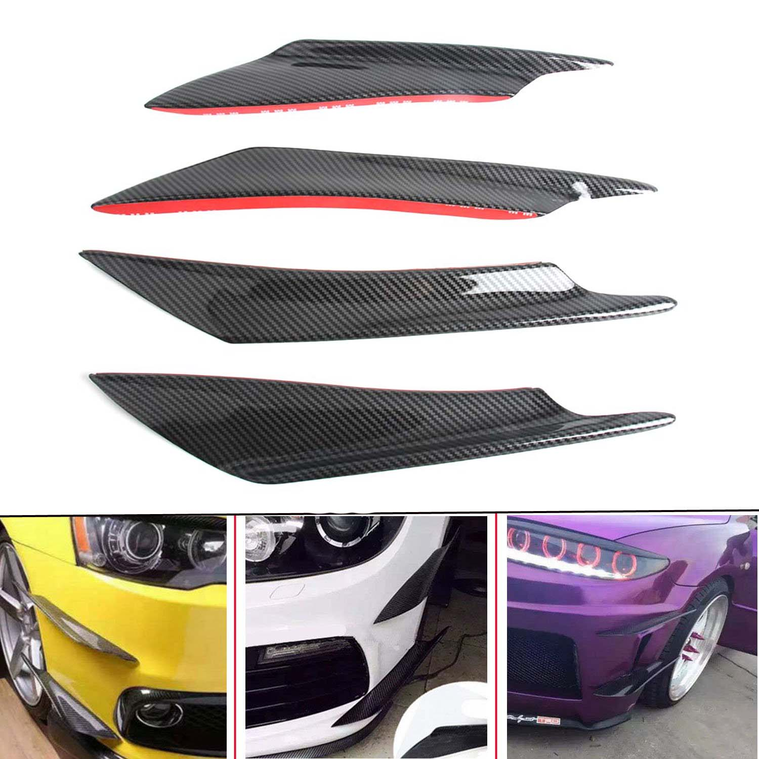 Universal Car Carbon Look Car Front Bumper Lip Diffuser Splitter Fins Body Spoiler Canards Valence Chin 4pcs/set
