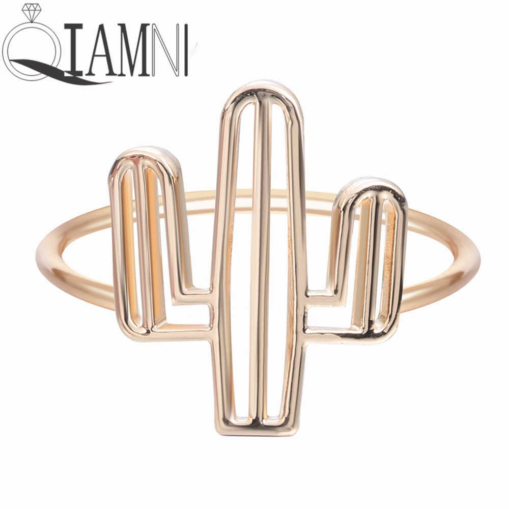 QIAMNI New 1pcs Cacti Tree ring Insect Series Bee Cactus Gem Opening Rings For Women Brand Party Rings for women Jewelry