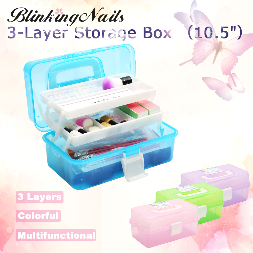 BlinkingNails 3Layer Plastic Nail Tools Storage Box Organizer in ABS Case for Manicure Container Tool Box for Nail Art Equipment