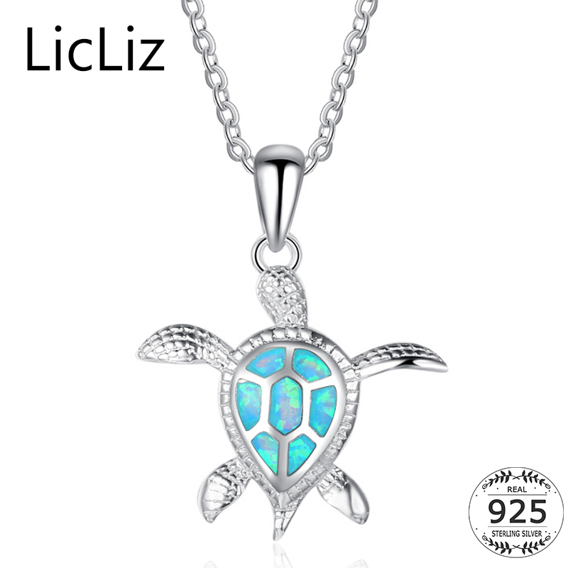 LicLiz 925 Sterling Silver Turtle Necklace Collar Women Blue Fire Opal Animal Pe