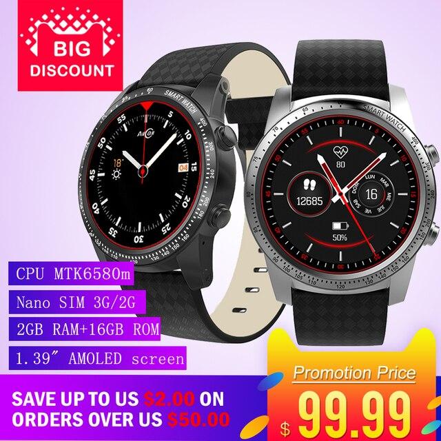"AllCall W1 2GB RAM 16GB ROM 1.39"" AMOLED screen Heart Rate Phone Smart Watch GPS 3G/2G Watch-Phone MTK6580m Android 5.1 MP4 WiFi"