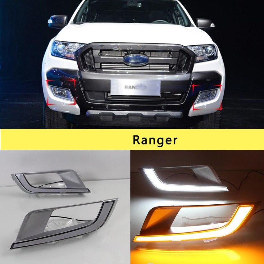 LED DRL Day Time Running Turn Light For Ford Ranger Px2 Mk2 Wildtrak 2015 2015 2017 smrke drl for ford ranger wildtrak 2015 2017 car led daytime running lights