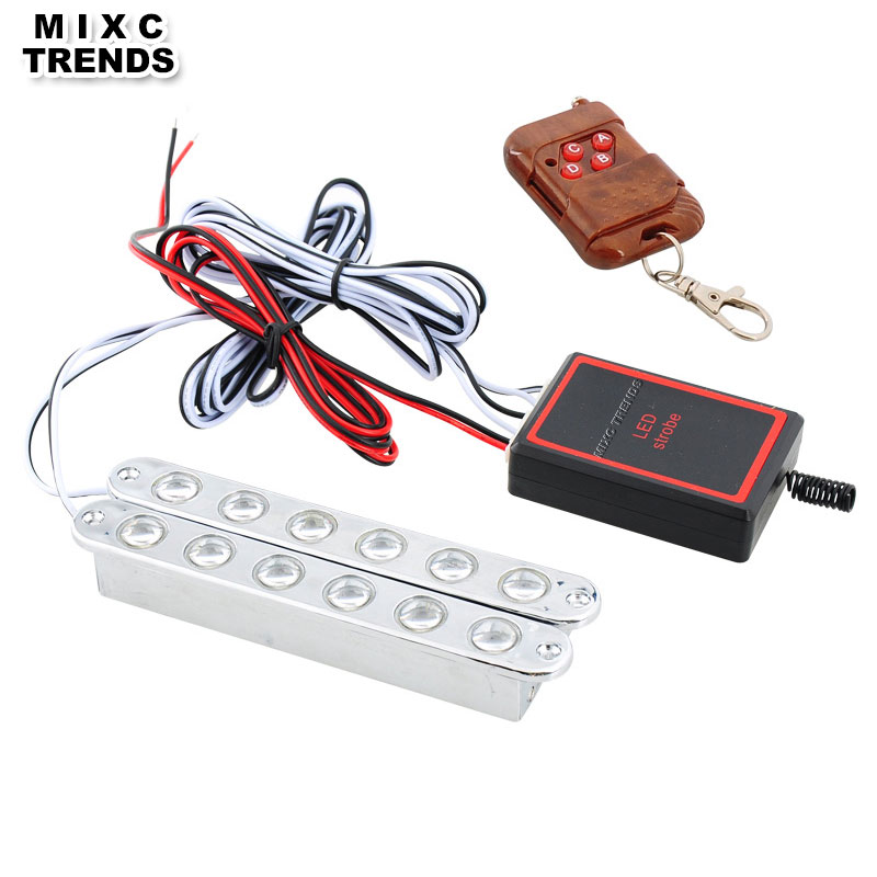 MIXC TRENDS Wireless Remote controlled 2x6LED DRL Car Emergency Strobe Light 12V Auto Flashing Warning Daytime Running Lights 4in1 daytime running light 12v 12w led car emergency strobe lights drl wireless remote control kit car accessories universal