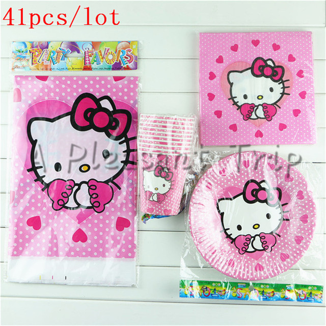 41pcslot Kraft Paper Material Hello Kitty Theme Child Birthday