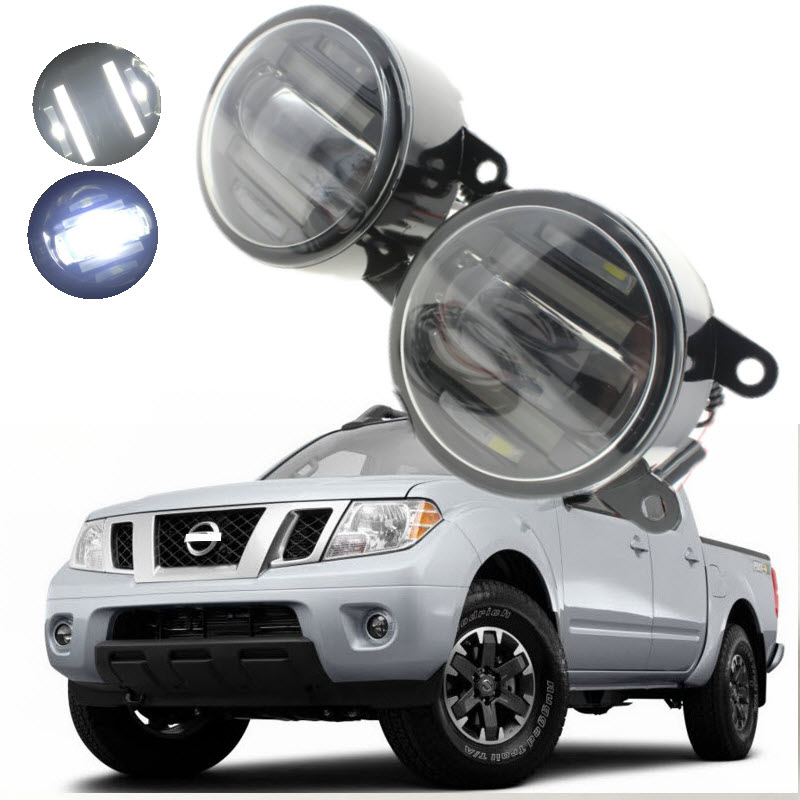 For Nissan NAVARA D40 Frontier 2005-2015 2in1 18W LED Fog Lights White Cut-Line Lens DRL Daytime Running Lights Car-Styling for mitsubishi outlander xl 2006 2012 2in1 18w 1800lm led fog lights white cut line lens drl daytime running lights car styling
