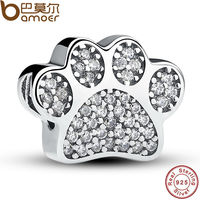 Sterling Silver 925 Clear Cubic Zirconia Paw Prints Animal Charm Fit Original Pandora Bracelet DIY Accessories