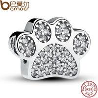Sterling Silver 925 Clear Cubic Zirconia Paw Prints Animal Charm Fit Original Pandora Bracelet DIY Accessories