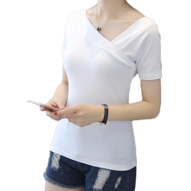a200d283b2d8e Short Sleeve Elegant T-shirts Asymmetrical Collar One shoulder Off Shoulder  Tops Female Summer Women For Women Black White