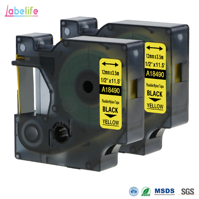 471ba6bd3655 US $13.18 15% OFF 2 Pack 18490 For DYMO Rhino Flexible Nylon Label S0718080  Black on Yellow 12mm Industrial Labels for DYMO Rhino Label Makers-in ...
