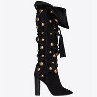 2018 Новое поступление, женские облегающие высокие сапоги, золотистые, с острым носком, на не сужающемся книзу массивном каблуке, осенне зимни