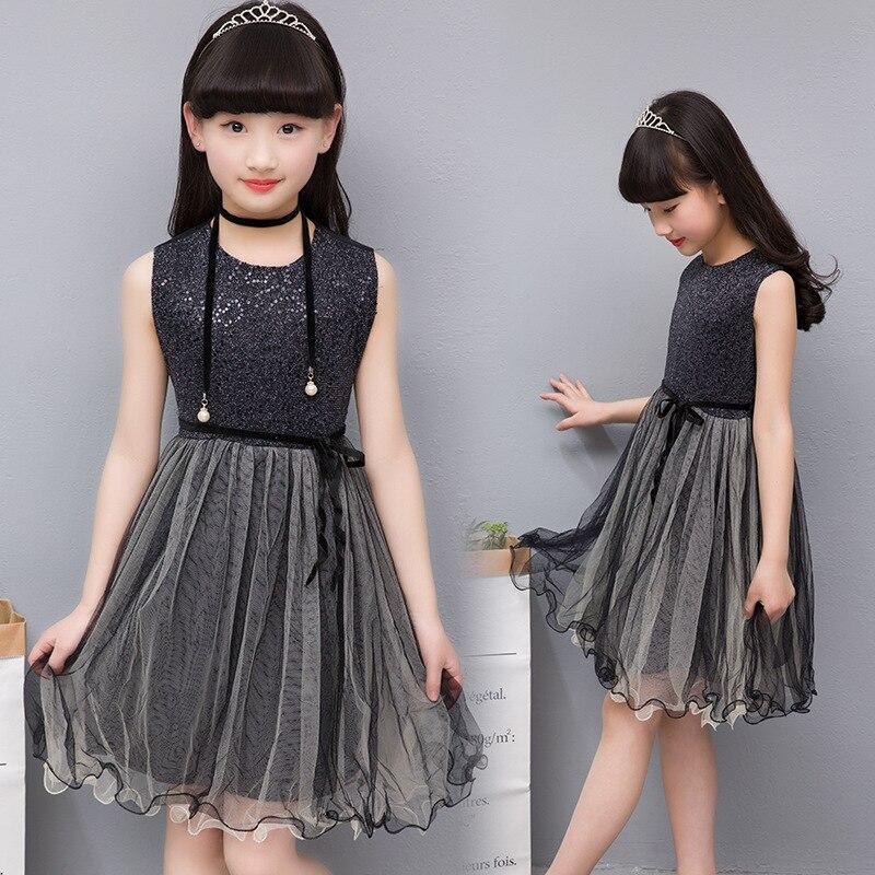 detailed look a7a61 ea078 US $10.11 22% di SCONTO|Moda bambini vestiti per le ragazze senza maniche  paillettes pizzo nero vestito da Partito di cosplay gli adolescenti ragazza  ...