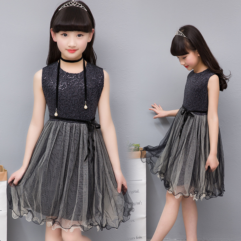 d360a6bd6 fashion kids dresses for girls sleeveless sequined black lace ...