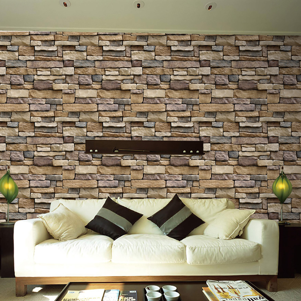 3d Wall Paper Brick Stone Rustic Effect Decoration Selfadhesive Stickers Removable  Wall Stickers Bedroom