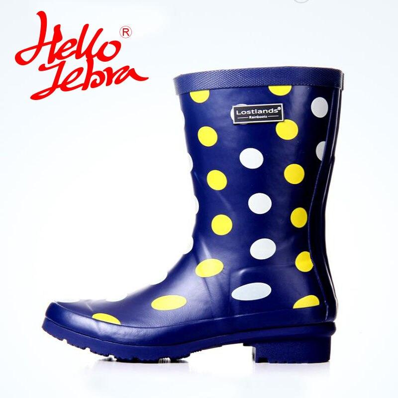 Hellozebra Women Rain Boots Lady High shoes platform Soft boots Low Heels Waterproof Buckle Polka Dot 2017 New Fashion Design hellozebra women rain boots lady low heels solid plain elatic waterproof welly buckle nubuck rainboots 2016 new fashion design