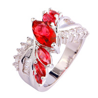 New Bright Red Ruby Spinel & White Topaz 925 Silver Ring Size 6 7 8 9 10 Wholesale Free Shipping For Women Jewelry Christmas