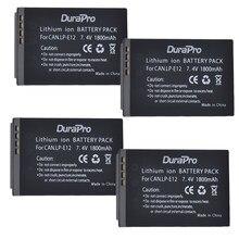 DuraPro – batterie Li-ion Rechargeable 7.2v 1800mAh LP-E12 LP E12 LPE12 pour appareil photo Canon 100D Kiss X7 Rebel SL1, 4 pièces