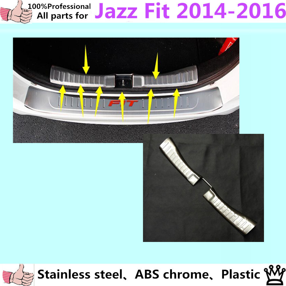 Car Styling cover Stainless Steel inner Rear Bumper trim plate lamp frame threshold pedal 1pcs for Honda FIT JAZZ 2014 2015 2016 for porsche cayenne 2015 stainless steel outer rear bumper foot plate trim 1pcs car styling