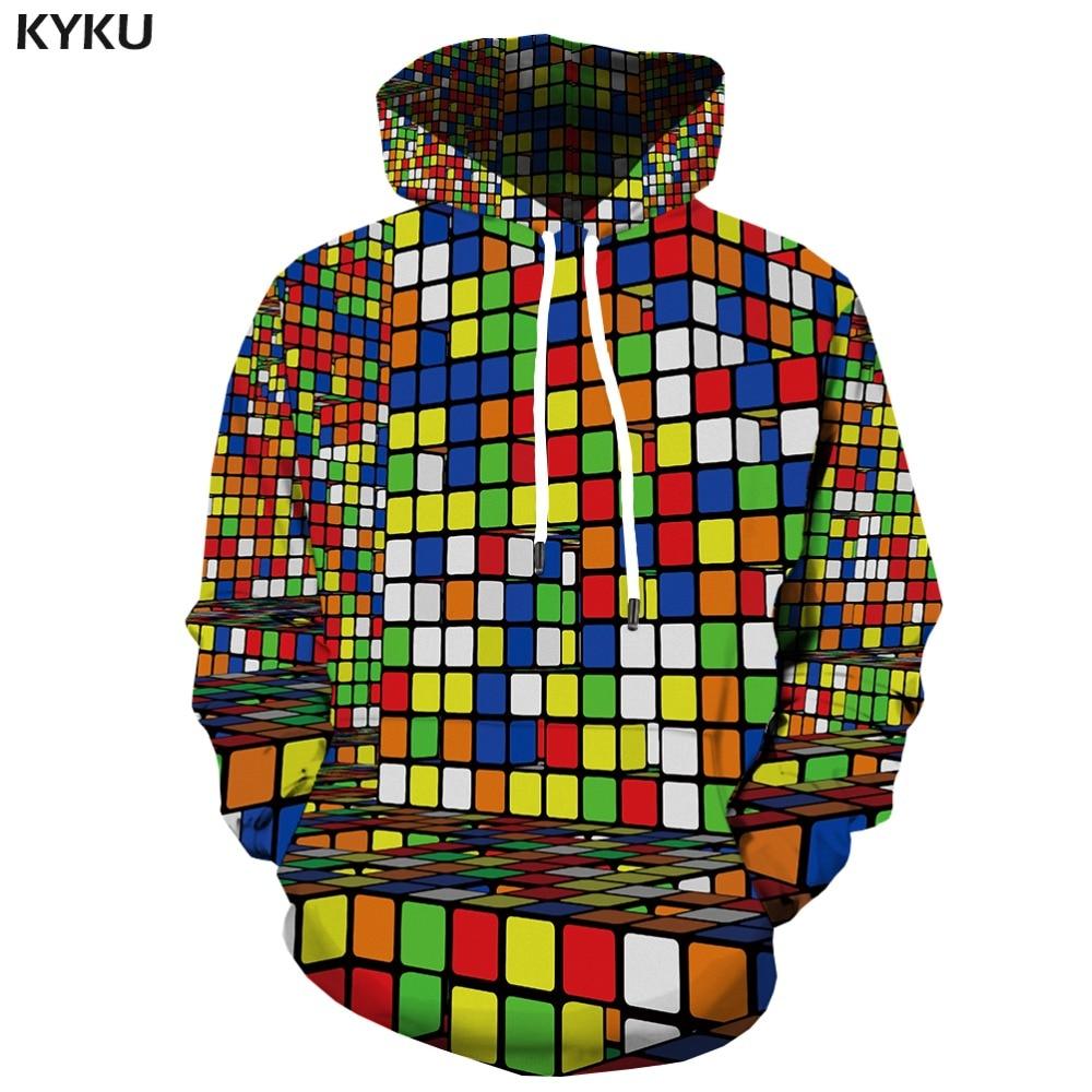 Reasonable Kyku Brand Rubiks Cube Sweatshirts Men Geometric Hoodes 3d Colorful Hoodie Print Squared Hoody Anime Psychedelic Hooded Casual High Quality Goods Hoodies & Sweatshirts
