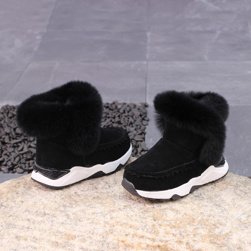 2017 Winter New Warm Baby Children Boots Kids Snow Boots Leather Boys And Girls Anti Skid Rabbit Hair Cotton Boots KS319 ...