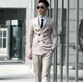 Nuevo retro del hombre delgado negocio trajes de doble botonadura novio vestido formal del banquete de boda Para Hombre Traje trajes (jacket + pants + tie)
