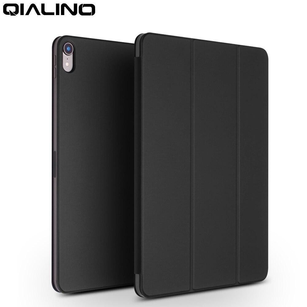 QIALINO mode en cuir véritable Ultra mince tablette étui pour iPad Pro 12.9 2018 fonction de dormance Stand couverture pour iPad Pro 11