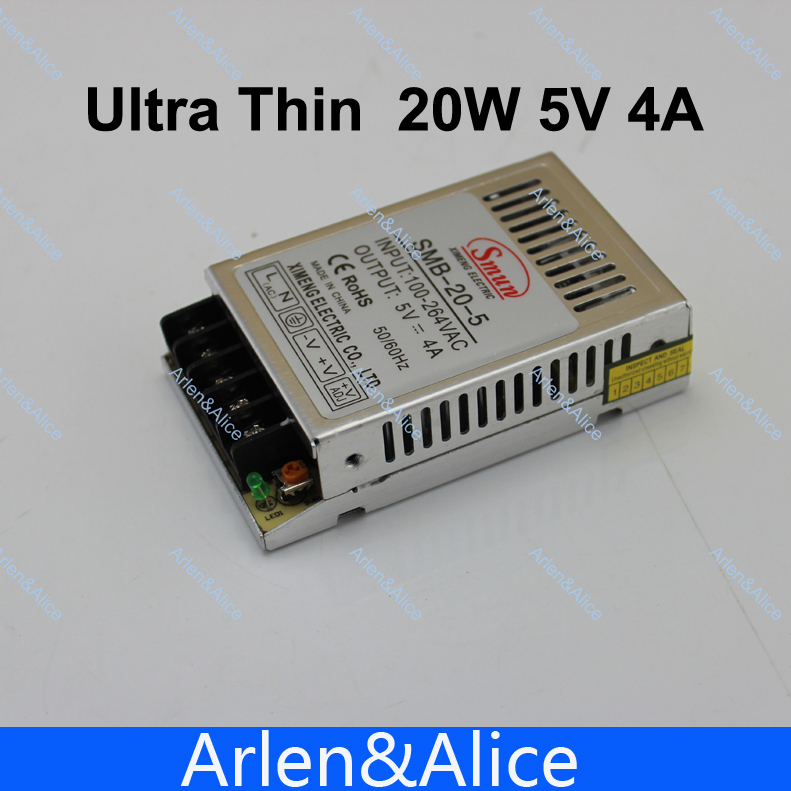 20W 5V 4A Ultra thin Single Output Switching power supply for LED Strip light 90V-260V AC Input 20w 24v 1a ultra thin single dc output switching power supply for led strip light smps