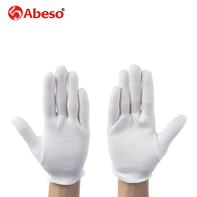 ABESO 12 pairs thicken White 100% Cotton Ceremonial gloves for male female Serving /drivers Gloves Jewelry Gloves A6002 1 double cotton gloves white green