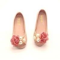 Kinder Sommer Mädchen Schuhe Offene spitze Blume Perle Strand Sandalen Flache Ferse Prinzessin Mädchen Kleid Schuhe Leder Sandale TX56
