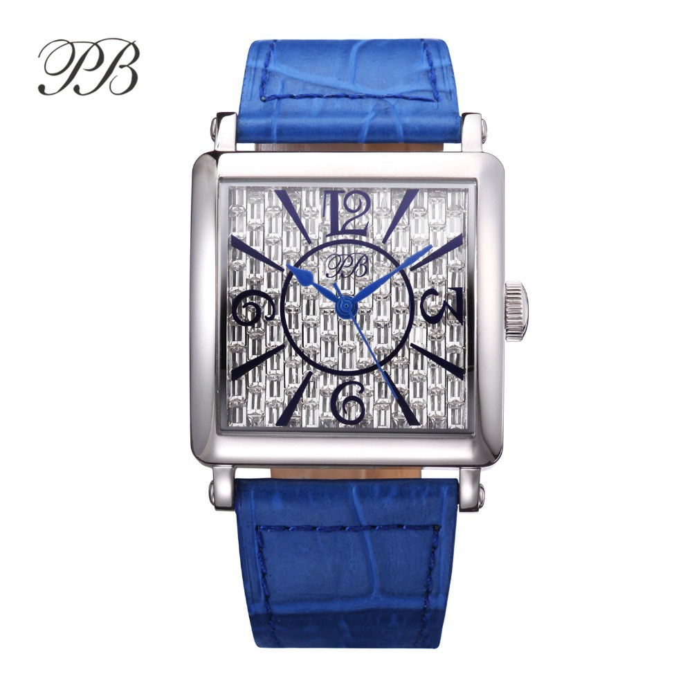 PB Luxury Brand Watch Women Fashion Dress Austria Crystal Ladies Watch Genuine Leather Casual Quartz Watch reloj mujer HL650 luxury big dial brand women watch vilam austria rhinestones miyota movement leather band quartz watch ladies clocks