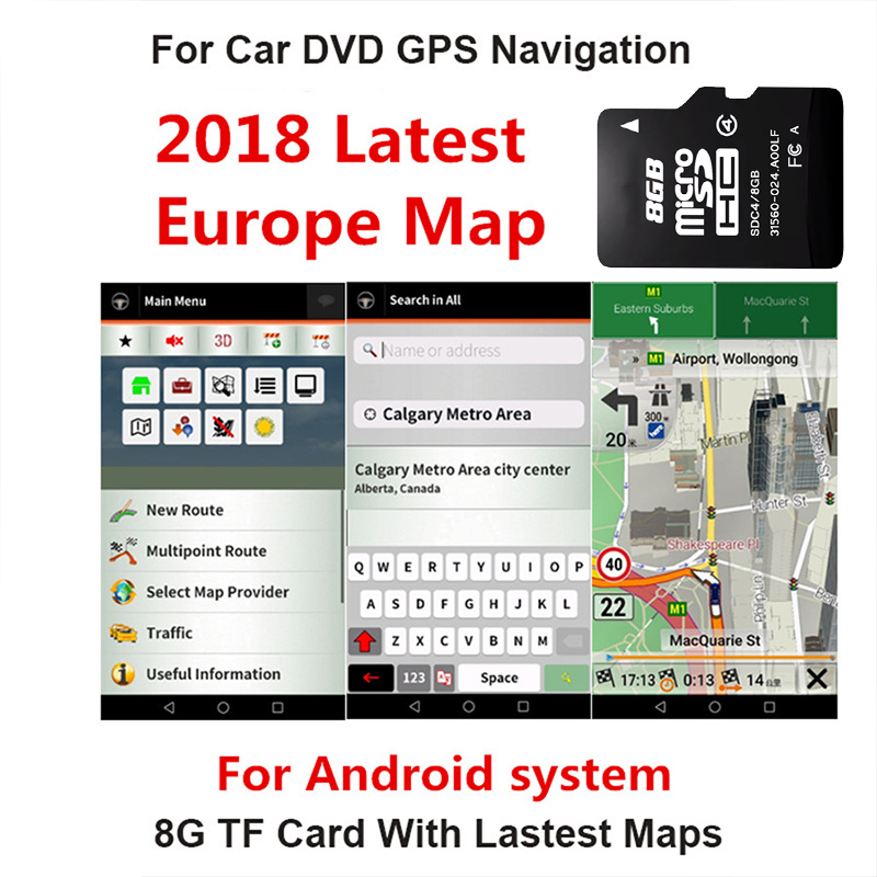 Fit for Android System Car Auto GPS Navigation 8GB Micro SD Card Map of Europe for France,Italy, Norway,Poland, Russia,Spain etc