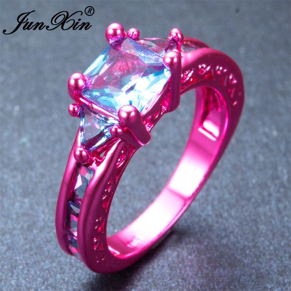 JUNXIN Fashion Female Girl\'s Light Blue Geometric Ring Pink Gold ...